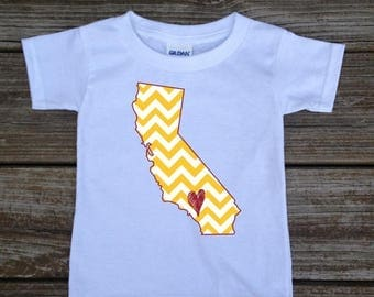 SALE California Gold Red Baby Toddler Children Kids Love Boy Girl T-shirt or Bodysuit - Your Choice of Any State and Colors