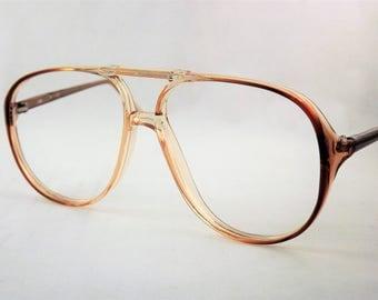 Aviator Glasses, Mens Brown Eyeglasses, Big Aviator Glasses, Two Toned Glasses, Vintage Pilot Glasses, NOS Glasses, New Old Stock Frames