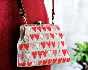 Kiss lock clutch, Double frame purse, Two compartment
