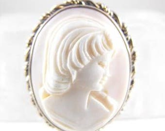 Angel Skin Coral Cameo Soft Pink Color Signed Dixelle 1/20 12k Gold Filled Mounts White Gold Surround Pin