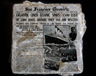 Titanic news story coaster set. **Ask for free gift wrapping and have them sent directly to the recipient!**