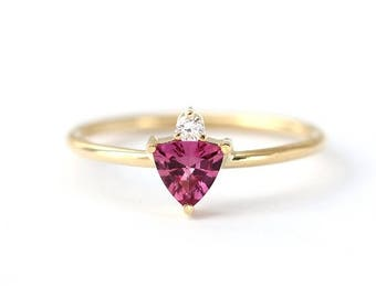 ON SALE Pink Sapphire Ring with Diamond - Trillion Pink Sapphire Ring - One Of A Kind Ring - 18k Gold
