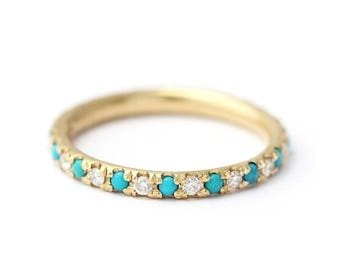 ON SALE Turquoise Wedding Ring with Diamonds - Turquoise and Diamond Eternity Ring - Thin Turquoise Eternity Ring - 18K Gold