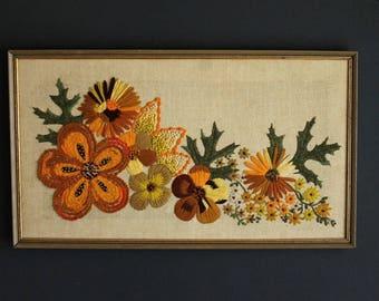 Vintage Crewel Embroidery Floral Needlework Art of Various Flowers on Beige Burlap Stretched on Wood Frame