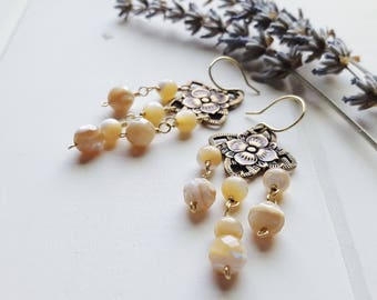Nora Earrings -- Latte, flower, chandelier everyday earrings, Mother of Pearl , Ready to Ship