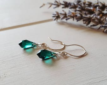Cora - Emerald Green Crystal Drop Earrings, Ready to Ship