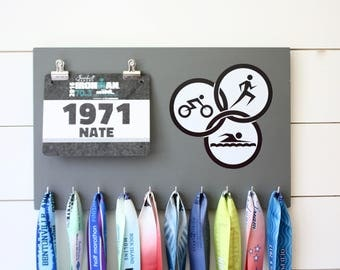 Running Medal Bib Holder Triathlon Olympicons - Medal Holder, Medal Rack, Medal Display, Race Bib Display, Race Bib Holder