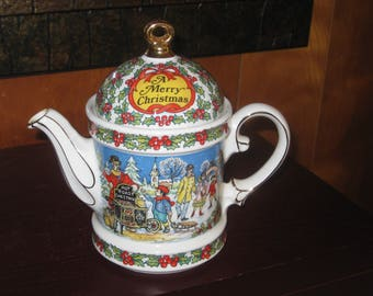 Tea Pot, Vintage Sadler Christmas Teapot, English Teapot, Limited Edition Teapot, Christmas Holiday Tea Server