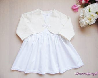 Short Christening gown with bolero, dress 100% cotton various sizes