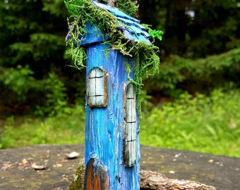 Enchanting electric blue mini fairy house