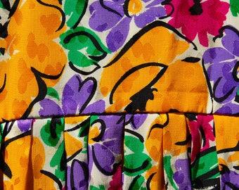 Late 80's silk floral Oscar de la Renta dress//Bergdorf Goodman on the Plaza