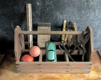 Old Distressed Wooden Organizer Carrying Box Tool Gardening Carry All Caddy  Wood Handle