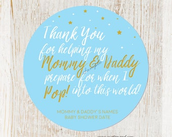 Baby Shower Ready To Pop Stickers for Boy, Baby Shower Sticker, Popcorn Favor Stickers, Personalized Shower Labels,Blue Baby ShowerSticker
