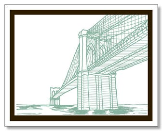 Brooklyn Bridge Note Card. Brooklyn Stationery. Modern Design. Blank Inside. New York City. Made In Brooklyn. Brooklyn Gift