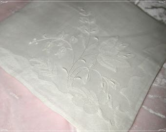 No. 200 ANTIQUE Swiss Cotton Hand Embroidered Handkerchief,  White Embroidery No. 42