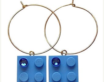 ON SALE Light Blue LEGO (R) brick 2x2 with a Blue Swarovski crystal on a Silver/Gold plated hoop