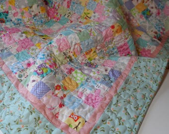 baby girl shabby chic, soft and sweet handmade quilt, toddler or baby girl blanket. pastel nursery. one of a kind patchwork