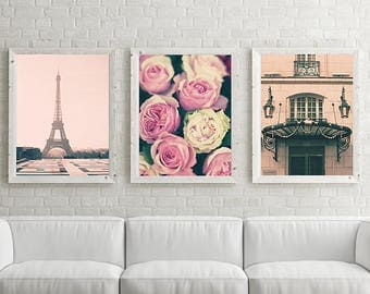 Large wall art, Paris wall art, wall art canvas, Paris photography, canvas art, Paris print Eiffel tower print pink wall art canvas wall art