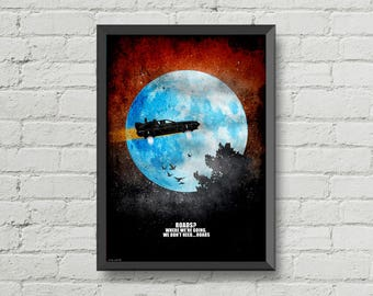 Back to the Future poster,digital print,DeLorean,wall decor,BLACK FRIDAY,man cave decor,Marty McFly,movie poster,moon,movies quotes,blue,