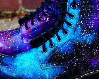 Junior (Sizes UK Children's 10 - 3) Hand Painted Galaxy Nebula Space Print Dr Marten Boots, Customisable, Made To Order