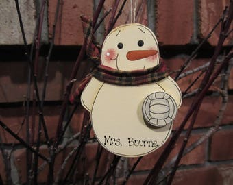 Personalized Snowman Volleyball Ornament