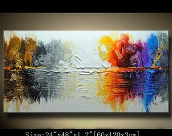 Abstract Wall Painting,Palette Knife Abstract Painting, Textured Painting,,Landscape Painting ,Park Lights Painting  on Canvas, by Chen 0719