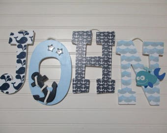 "JOHN - 12.00 PER LETTER boy's name, 8-1/2"" to 9"" wooden nursery letters, nautical theme, ship's wheel, nautical nursery, whales, anchors"