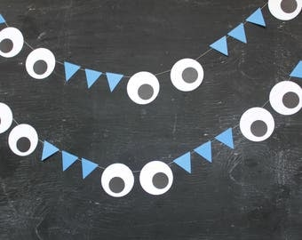 Monster Garland, Googly Eyes, Birthday Party Decorations, Monster Party Decorations, Paper Garlands, Red or Blue, 6 feet long