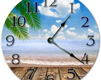 """10.5"""" SEASHORE VIEW Clock - Living Room Clock - Large 10.5"""" Wall Clock - Home Décor Clock - 5131"""