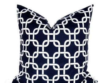 15% Off Sale Decorative Pillow, Navy Pillow, Nautical Pillow,  Lattice pillow,  Navy Pillow Cover, Throw Pillow Covers Blue, Pillows, Blue P