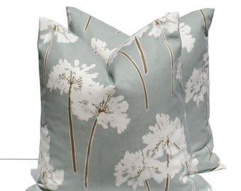 15% Off Sale Pillow Decorative Pillow Cover couch pillow  Dandelion Pillow - Blue Pillow - Slate Blue Green Pillow- Toss Pillow 20x20 18x18