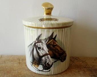 Vintage french ceramic pot, 1950, Horses, Horse, Chevaux, Kitchen, Decoration, Retro, Antique, France, Mid Century