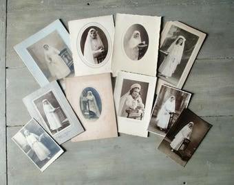 10 antique french photos, Vintage photo, Communion Girl, France, Paris, 1920-1930, Old paper, Ephemera, Photographie, Photo, Enfant