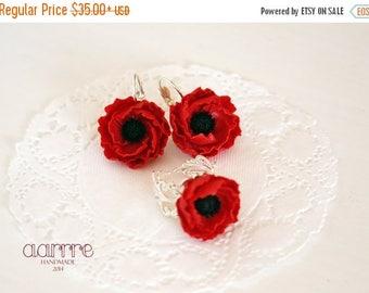 SALE Flower jewelry set, red flower jewelry set, poppy jewelry set, red poppy jewelry set, flower earring, flower ring, poppy earring, poppy