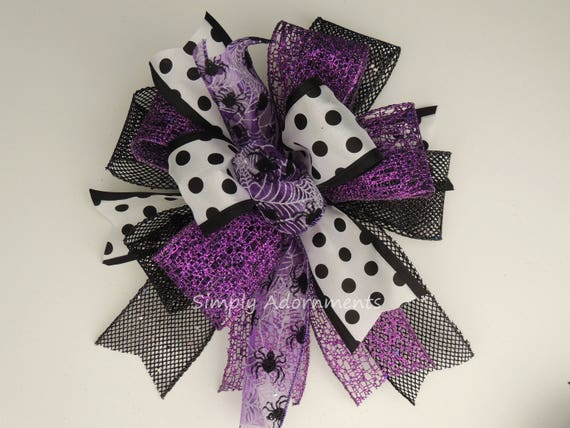 Black Purple Spider Halloween Wreath Bow Halloween Lantern Bow Halloween Polka Dots Swag Bow Purple Halloween Party Decoration Fall Door Bow