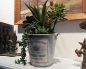 Succulent Arrangement - Care Free Faux Plants in Galvanized Bucket