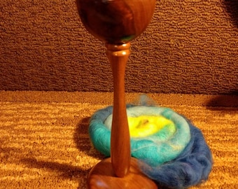 Supported Spindle lap bowl Walnut  with cream insert