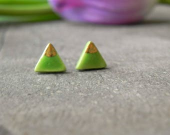 Apple Green and Gold Triangle Porcelain Stud Earrings, Real Gold Ceramic Post Earrings, Geometric Pottery Hypoalergenic Surgical Steel Post