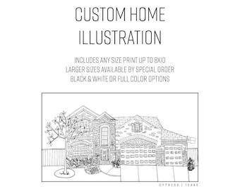 Custom Home Illustration - Elle Karel, illustration, first home, welcome home, home sweet home, wedding gift,