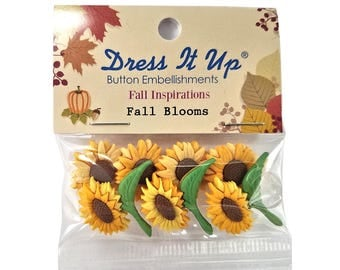 Fall Blooms Sunflowers Novelty Buttons Jesse James Dress it Up Theme Pack