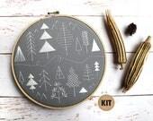 Folk Art Embroidery Kit, Pine Trees, Beginner Embroidery Kit, Scandinavian Decor, Stitch Sampler, Gray, Grey, Green, Forest, Woodland