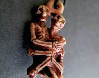 Vintage Handcarved Bone Skeleton Lovers
