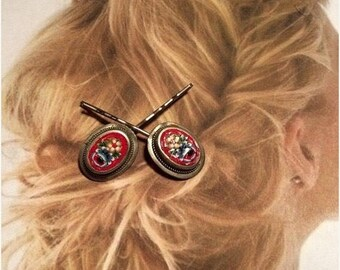 1stDayofSummerSALE Red Micro Mosaic Decorative Hair Pins Jewelry Decorative Vintage 1930 1940 Hairpins Bobby Pins