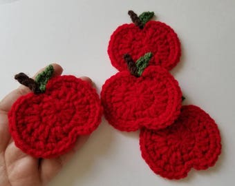 "NEW- 1pc 3"" Crochet RED APPLE Applique"