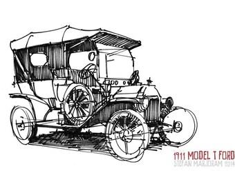 1911 Model T Ford - Original A4 Pen Sketch