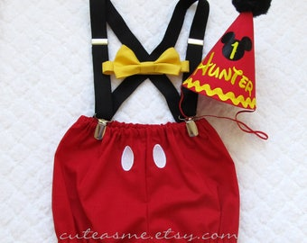 First Birthday Outfit Boy Cake Smash Cake Outfit 1, 2, 3 or 4 Piece Set Mickey Mouse Diaper Cover Tie Suspenders Party Hat Bow Tie Bloomers