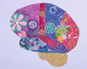 Neuro Art. Brain Art. Gift for Doctor, Neuroscientist, Neurologist. Fiber Art Brain .