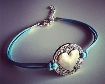 Turquoise cord with heart bracelet