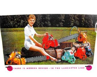"Vintage Chain Saw Postcard - Retro 80's Postcard, Chainsaw ""Girlie"" Postcard, Vintage 1980's Humorous Postcard"