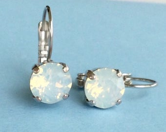 Swarovski Crystal 8.5mm Lever- Back Drop Earrings - Classy - White Opal - OR Choose Your Favorite Color and Finish -  FREE SHIPPING